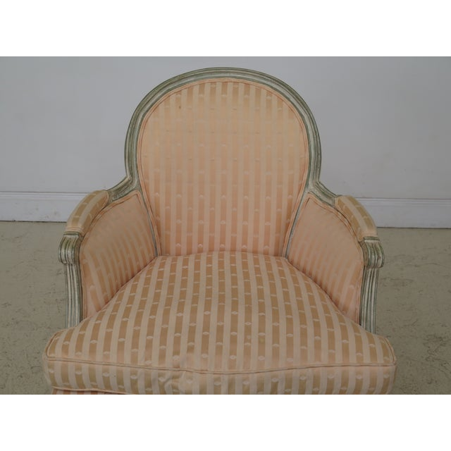 French Louis XV Style Paint Decorated Bergere Chair. Approx: 30 Years Old. Down Seat Cushion. Nice Carved Details. High...