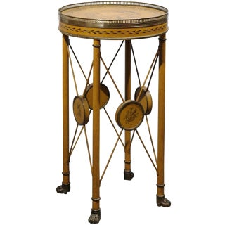 French 1880s Painted Tole Guéridon Table with Brass Accents and Side Stretchers