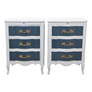 French Clayburn Blue and Gray Nightstands - a Pair For Sale