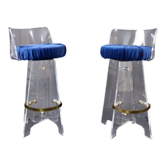 1970s Vintage Mid Century Modern Hollywood Regency Lucite & Brass Swivel Barstools - a Pair For Sale