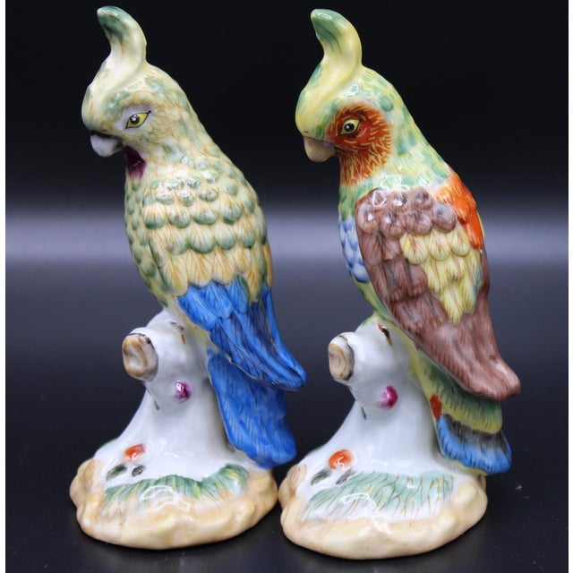 A superb pair of Vintage Chinese Export Ceramic Parrot Figurines. Vivid colors, unique accent decor!