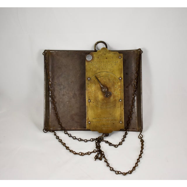 Chatillion Hanging 30 Lb. Brass Mercantile Scale with Steel Tray For Sale - Image 9 of 11