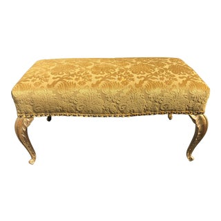 French Deco Gilt-Wood Palm Leaf Leg Bench by Randy Esada Designs for Prospr For Sale