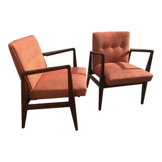 Early Jens Risom Design Walnut Arm Chairs - a Pair