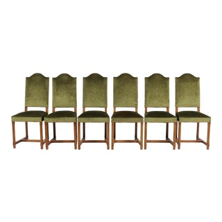 Vintage French Country-Style Green Velvet Chairs S/6