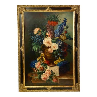 Antique Floral Still Life Oil Painting Canvas Giclee For Sale