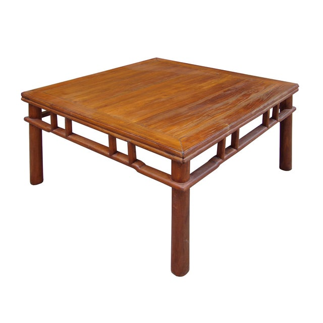 Chinese Ming Style Round Legs Square Coffee Table - Image 3 of 6