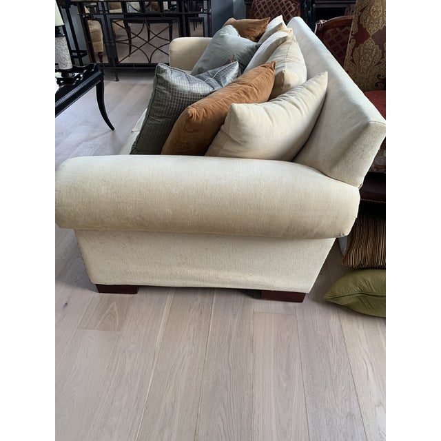 This custom made sofa has a rustic and elegant look. It sets an approachable and inviting foundation in your living room...