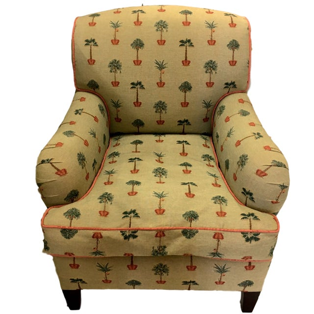 Traditional George Smith Yellow Upholstered Printed Club Chair - Image 11 of 11