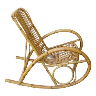 Mid-Century Franco Albini Rattan Rocking Chair