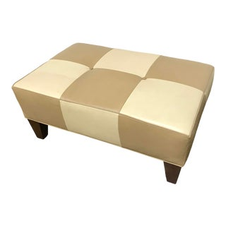 RJones Checkmate Ottoman in Leather For Sale