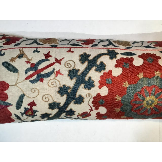 Silk 1960s Mediterranean Hand Embroidery Suzani Pillow For Sale - Image 7 of 11