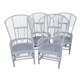 Brighton Pavilion High Back Rattan Chinese Chippendale Chairs - Set of 4 For Sale