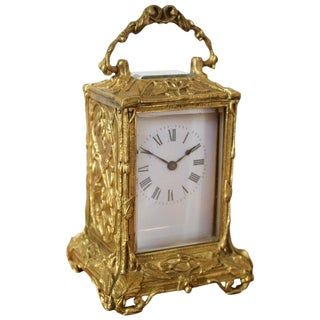 Late 19th Century Antique French Art Nouveau Gilt Bronze Carriage Clock For Sale