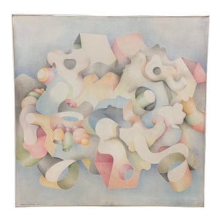 Signed Ron Webber 1976 Biomorphic Painting on Canvas For Sale