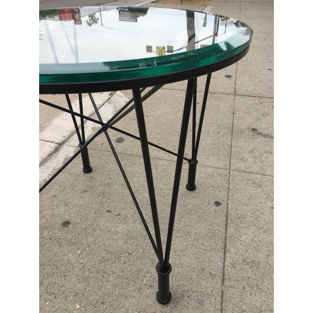 1970s Post Modern Glass Top Round Metal Side Table For Sale In Los Angeles - Image 6 of 10