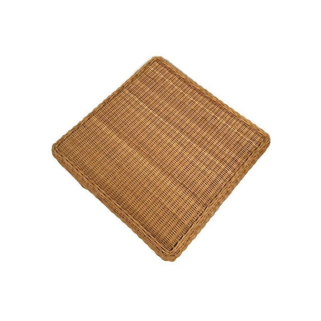 Rustic Vintage Wicker Footstool Rattan Ottoman For Sale - Image 3 of 12
