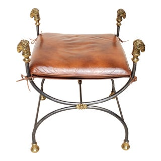 Vintage Maitland-Smith Brass Ram Head Iron Leather Bench For Sale
