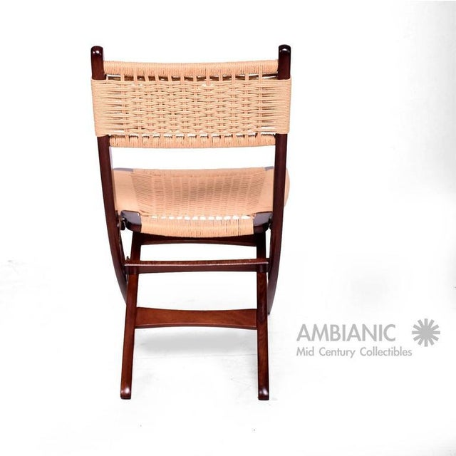 Mid-Century Danish Modern Rope Folding Chair For Sale - Image 4 of 9