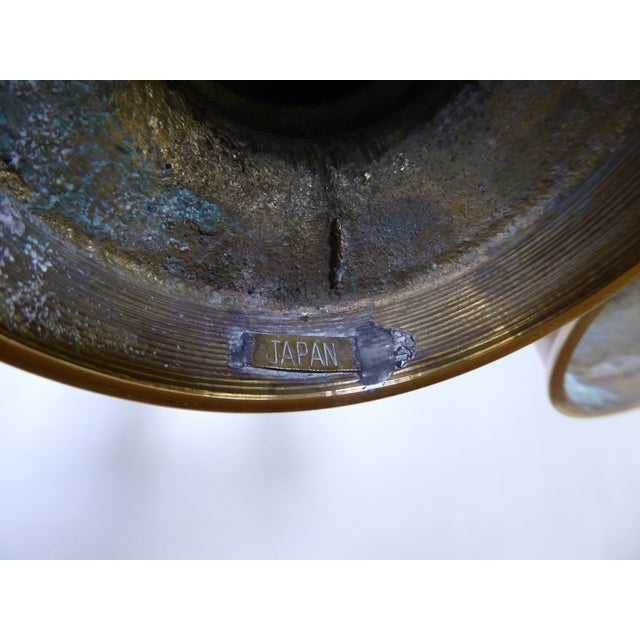 Vintage Japanese Brass Candle Holders - a Pair For Sale In Portland, OR - Image 6 of 10