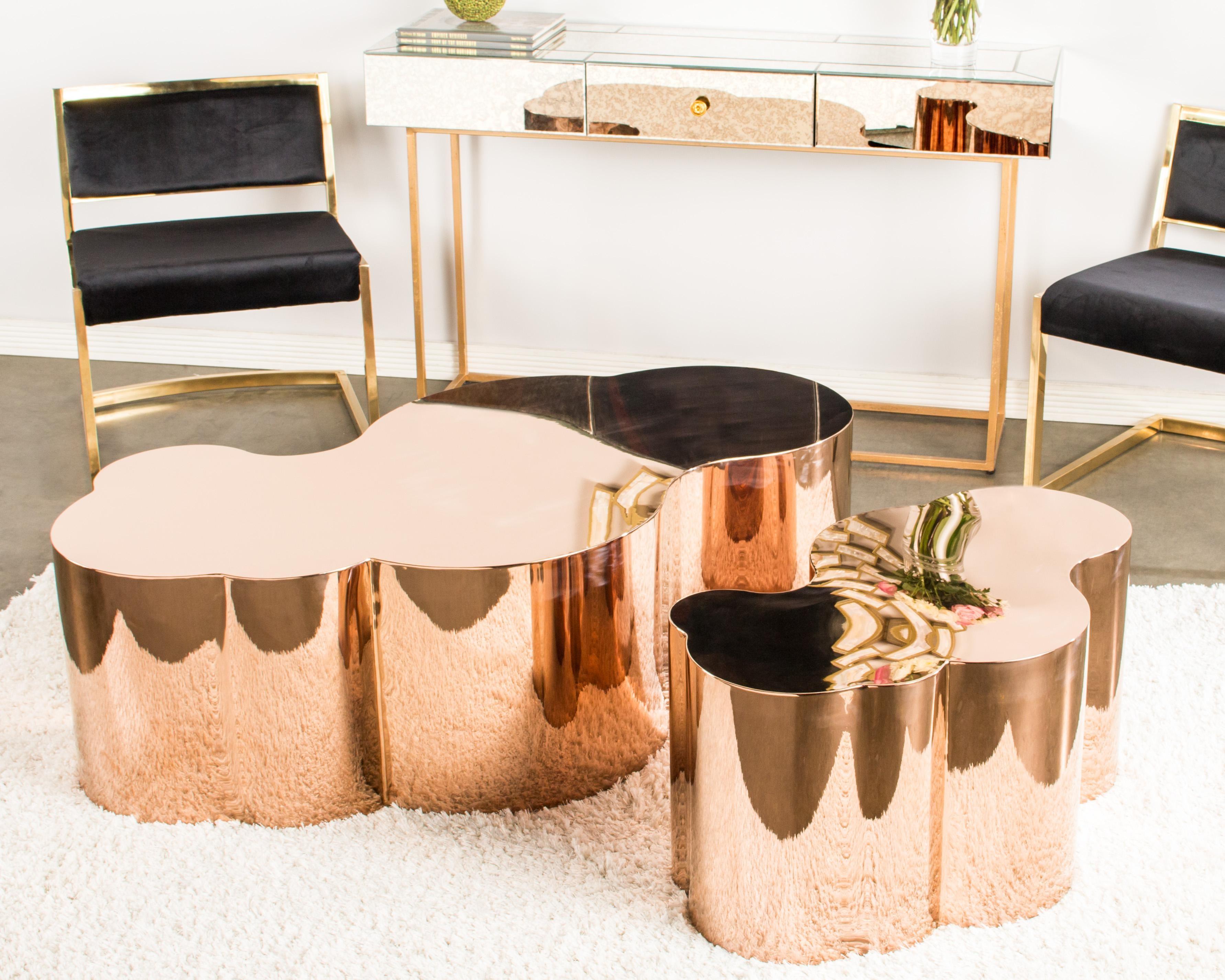 luca rose gold coffee table | chairish