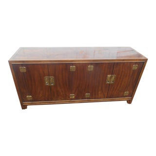 "1960's Campaign Drexel Heritage Dynasty 68"" Burl Walnut Buffet For Sale"