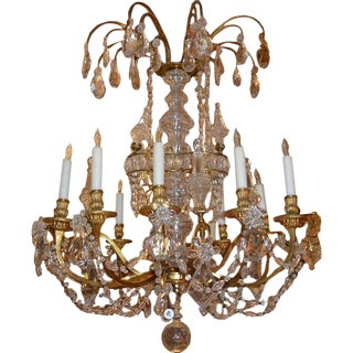 1900s French 12 Light Bronze and Crystal Marie Antoinette Chandelier For Sale