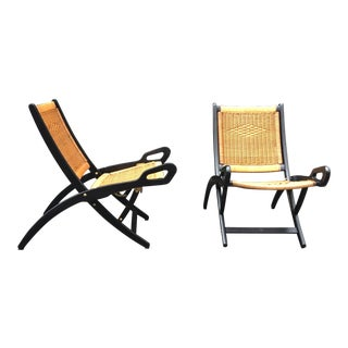 "Gio Ponti (1891-1979), Pair of Folding Fireside Chairs, ""Ninfea"" Model For Sale"