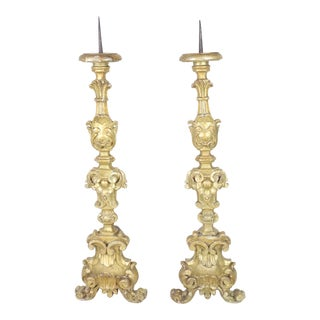 Late 18th Century Italian Pricket Candlesticks - a Pair For Sale