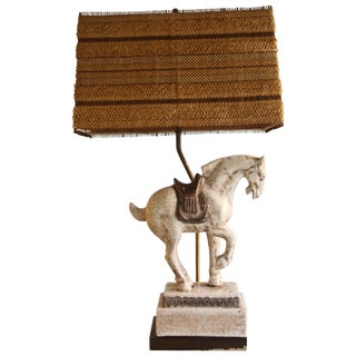 Midcentury Ceramic Horse Equestrian Table Lamp For Sale