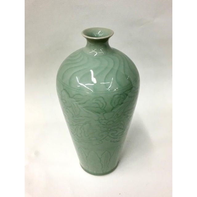 Asian Vintage Forester II Celadon Vase For Sale - Image 3 of 6
