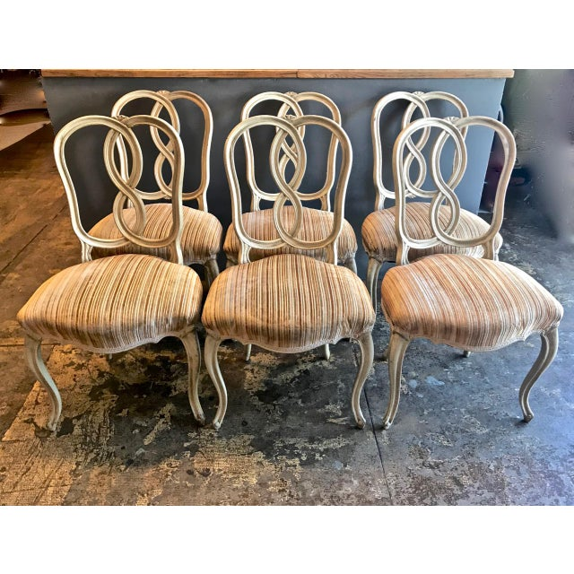 1960s Set of 8 Italian-Ventian Style Ribbon Back Dining Chairs For Sale - Image 5 of 12