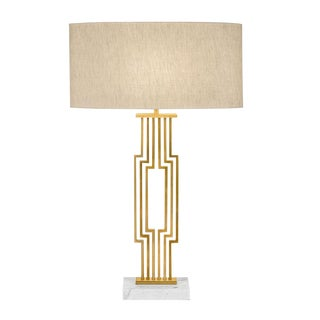 Provence Brushed Brass Table Lamp With Shade For Sale