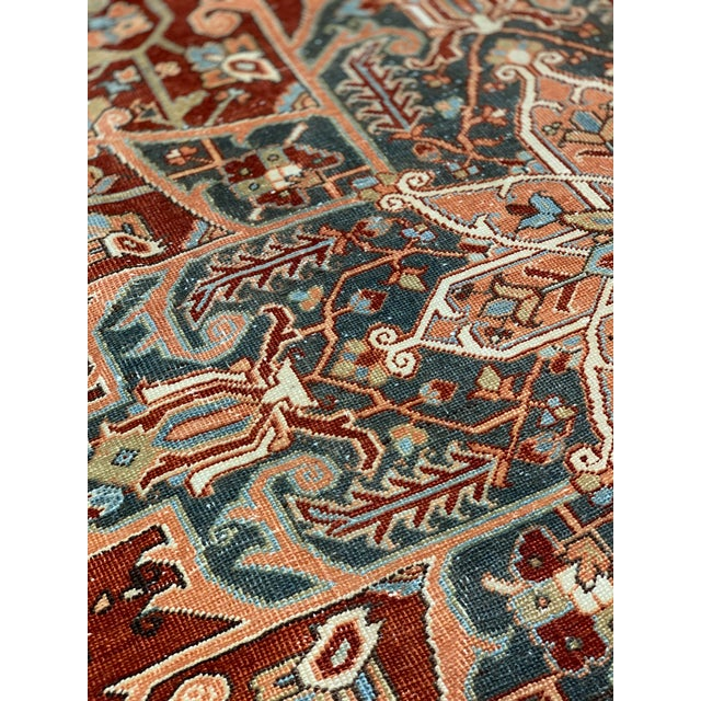 1920s Vintage Persian Heriz Area Rug - 9′5″ × 12′4″ For Sale - Image 4 of 13