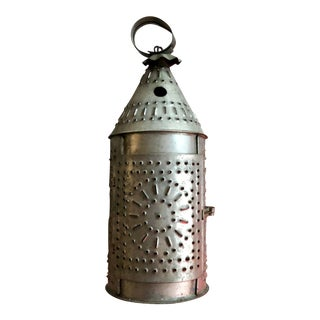 1900s Tin Pierced Punched Candle Lantern For Sale
