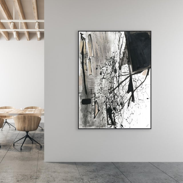 This stunning black, gray & creme abstract will be the perfect statement piece in any design setting. It's a gallery-...