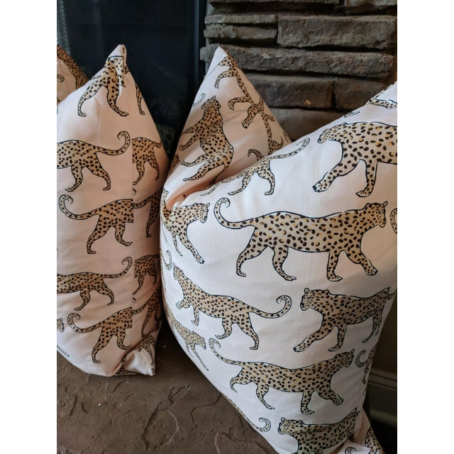 One pair of decorative pillows featuring a leopard design on blush home decor weight. For a custom made look, the same...