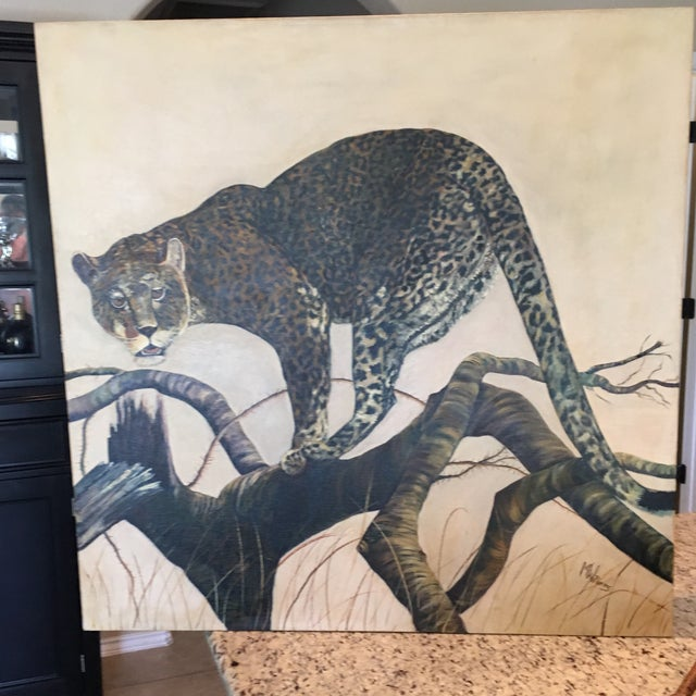 Mid-Century Leopard Oil Painting For Sale - Image 9 of 11