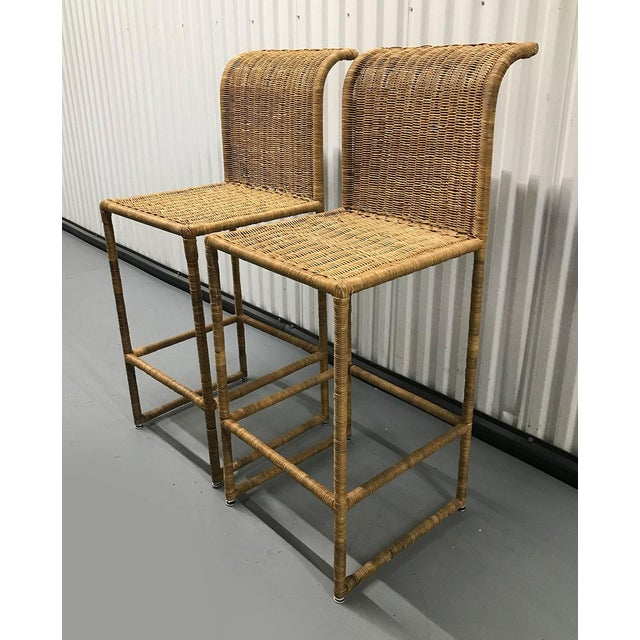 Mid-Century Modern Rattan Bar Stools - a Pair For Sale - Image 4 of 13