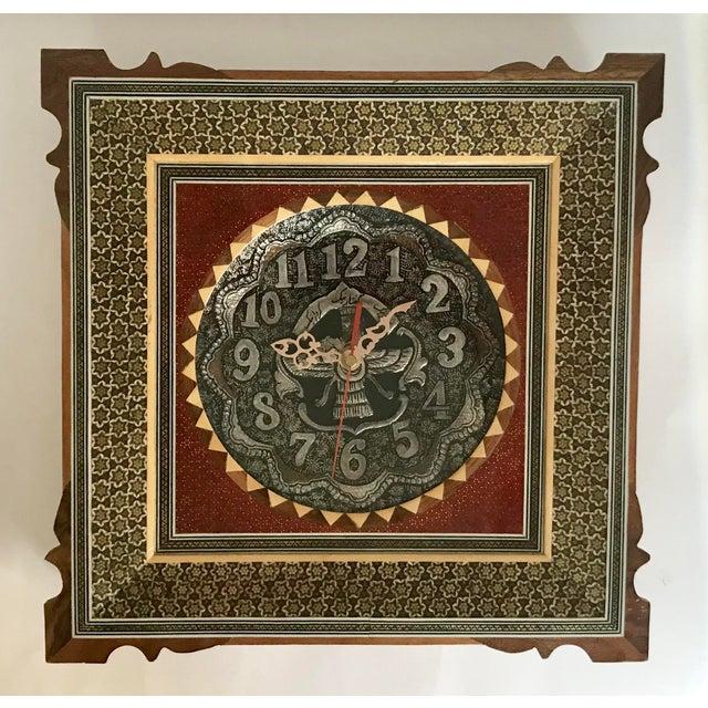 Khatam Kari Signed Original Wood Inlay Clock - Image 2 of 6