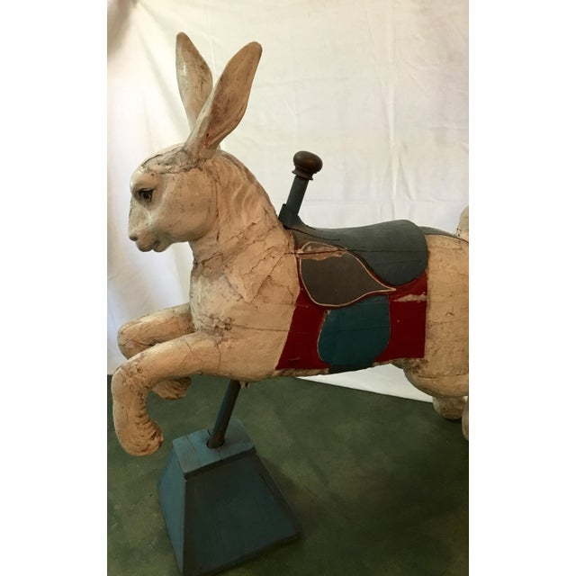 19th Century Rare French Carved Juvenile Carousel Rabbit For Sale - Image 9 of 13