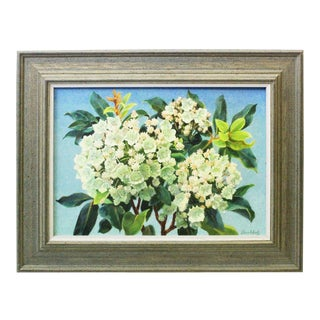 Mountain Laurel and Sky Oil Painting by Buchholz For Sale