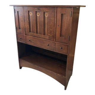 Stickley Oak Drop Front Desk For Sale