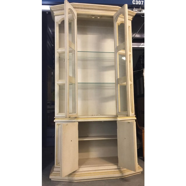 Baker Furniture Company Baker Breakfront French Country Glass Shelves, Lighting and Two Storage Cabinet - 2 Pc. For Sale - Image 4 of 12