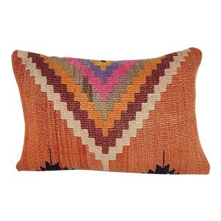 Modern Kilim Pillow Cover 14 X 20 Inch (35 X 50 Cm), Vintage Armchair Lumbar Pillow Cover, Farmhouse Anatolian Decor For Sale