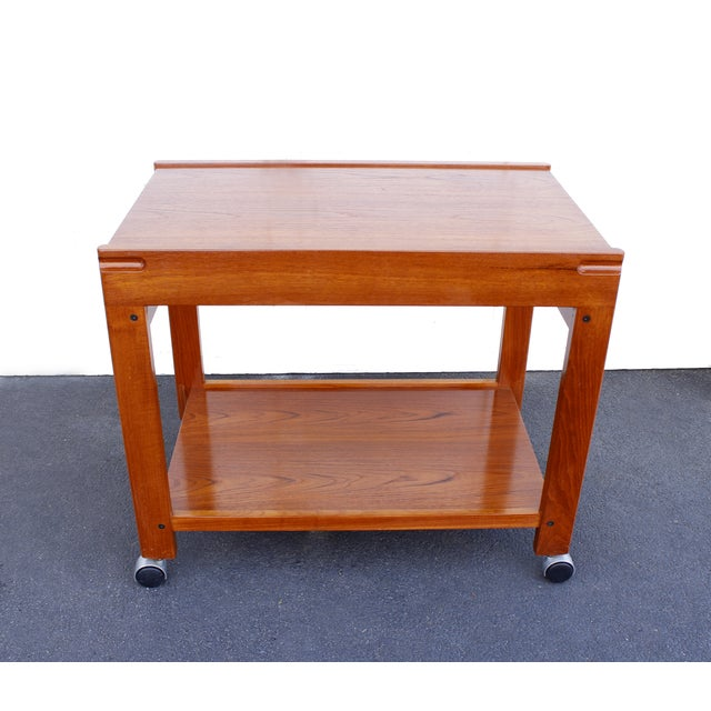 Danish Modern Teak Rolling Bar Cart - Image 2 of 7