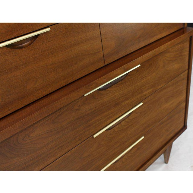 Brown Five Drawers Walnut High Chest Dresser For Sale - Image 8 of 11