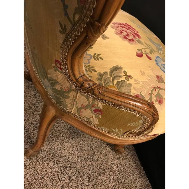 Louis XV Style 2 Tone Gold Leaf Boudoir Chair For Sale - Image 9 of 9