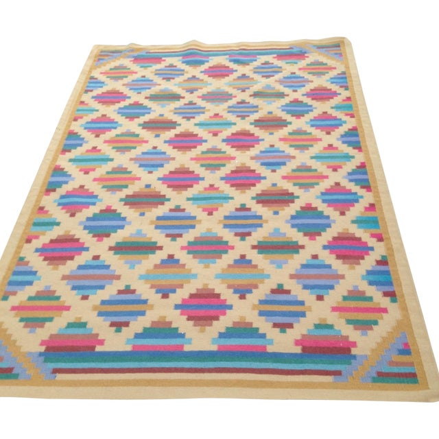 Flat Woven Wool Kilim Rug- 6' x 9' - Image 1 of 10