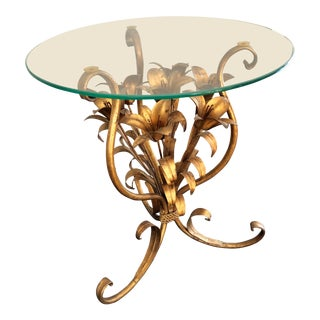 Vintage Italian Gilt Tole Floral Bouquet Table For Sale
